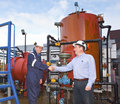 Two petrochemical contractors closing a deal Royalty Free Stock Photo