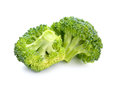Two pieces of broccoli  isolated on white background. Royalty Free Stock Photo
