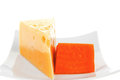 Two pieces of french gourmet cheeses Royalty Free Stock Photography