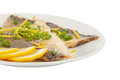 Two pieces of fried fish and lemon segment Stock Photo