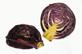 Two pieces red cabbage sliced ​​in half Stock Photos
