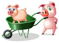 Two pigs with a green cart illustration of the on white background Stock Photo