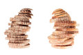 Two pile of slices of black rye bread and white bread with a crispy crust on a white background isolated concept art food Stock Image