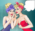 Two Pin-Up Girls Whispering a Secret Royalty Free Stock Photo