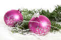 Two pink christmas balls and pine tree over white background Royalty Free Stock Images
