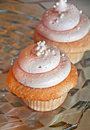 Two pink cupcakes this is a still life of light loaded with lots of frosting on a shiny silver background Royalty Free Stock Photos