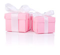 Two Pink gift box tied white satin ribbon bow Stock Photo