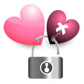 Two pink hearts lock key and broken heart illustration Stock Image