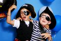 Two pirate on a blue background Royalty Free Stock Images