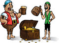Two pirates with treasure. Part of a series Stock Photo