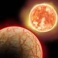 Two planets in space desert planet and red hot sun Stock Images