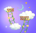 Two plant ladders going to the sky illustration of Stock Photos