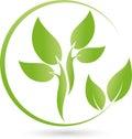 Two plants, leaves, wellness and gardener logo