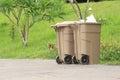 Title: Two plastic dust bin