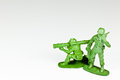 Two plastic toy soldiers Stock Photos