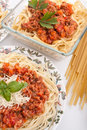 Two plates of spaghetti bolognese Stock Photography