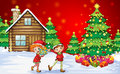 Two playful dwarves near the christmas trees illustration of Stock Photos