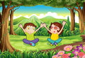 Two playful kids at the forest illustration of Royalty Free Stock Photos