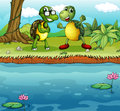 Two playful turtles near the pond illustration of Stock Image