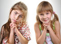 Two pleeding playful kid Stock Images