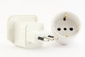 Two plug and socket unplugged electric on a white background Royalty Free Stock Photo
