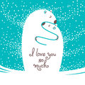 Two polar bears hugging each other. Greeting card with the inscription I love you so much.