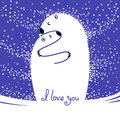 Two polar bears hugging each other. Greeting card with the inscription I love you.