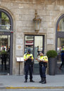 Two policemen in Barcelona. Royalty Free Stock Images