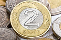 Two Polish zloty coin Stock Photography
