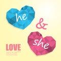 Two polygonal hearts like man and woman