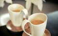 Two porcelain cups of coffee Royalty Free Stock Photos