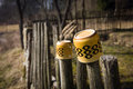 Two porcelain cups on a wooden fence village still life Royalty Free Stock Photo