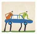 Two positive businessman walking with a big car Stock Photos