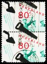 Two postage stamps printed in Netherlands shows Association of Building Contractors, Combined issue serie, circa 1995