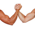 Two powerful men arm wrestling isolated on a white background Royalty Free Stock Images