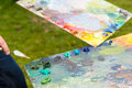 Two Prepared Palette With Fresh Paint Royalty Free Stock Photo