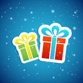 Two presents paper on blue star background illustration Royalty Free Stock Photos