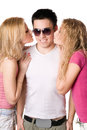 Two pretty blonde kissing young man handsome Royalty Free Stock Image