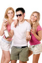 Two pretty blonde woman and young man Royalty Free Stock Image