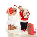 Two pretty christmas girl with gift Royalty Free Stock Photo