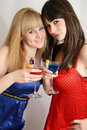 Two pretty friends with cocktail Stock Image