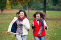 Two pretty girls in the park Stock Photo
