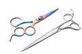 Two professional haircutting scissors isolated, with clipping path. Royalty Free Stock Photo