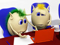 Two puppets looking at laptop with sorrow Royalty Free Stock Photo