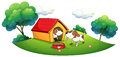 Two puppies with a doghouse illustration of the on white background Royalty Free Stock Photography