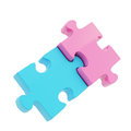 Two puzzle jigsaw glossy pieces linked together boy and girl metaphor as blue and pink Royalty Free Stock Photography