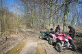 Two quads in forest (ATV) Royalty Free Stock Photo