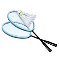 Two rackets and badminton shuttlecock Stock Images