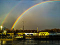 Two rainbows one of them brighter than the other Royalty Free Stock Image