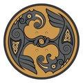 Two Ravens Of The God Odin In Scandinavian Style. Huginn and Muninn